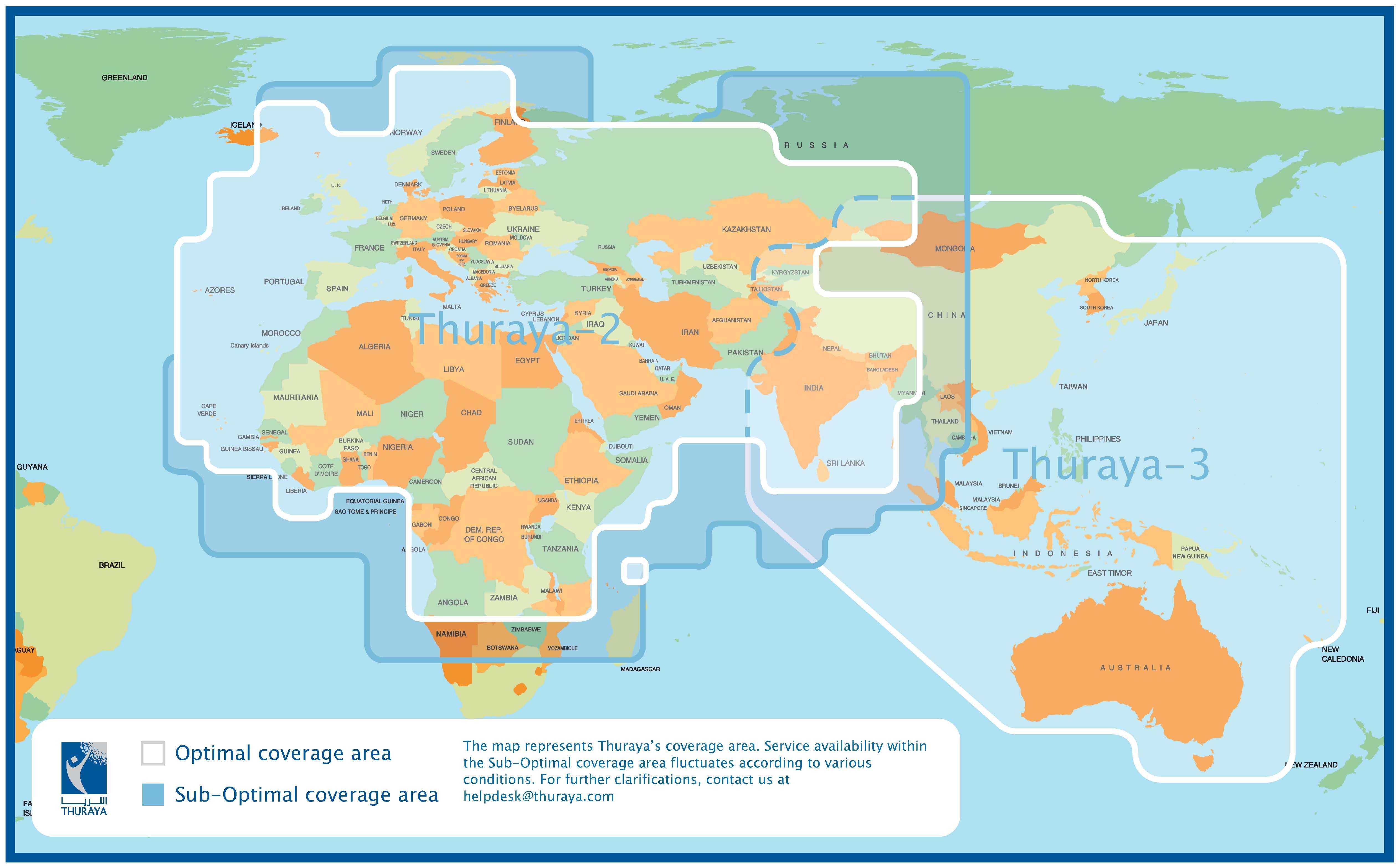 Thuraya Communication MailASail - Us cell phone coverage map 2010