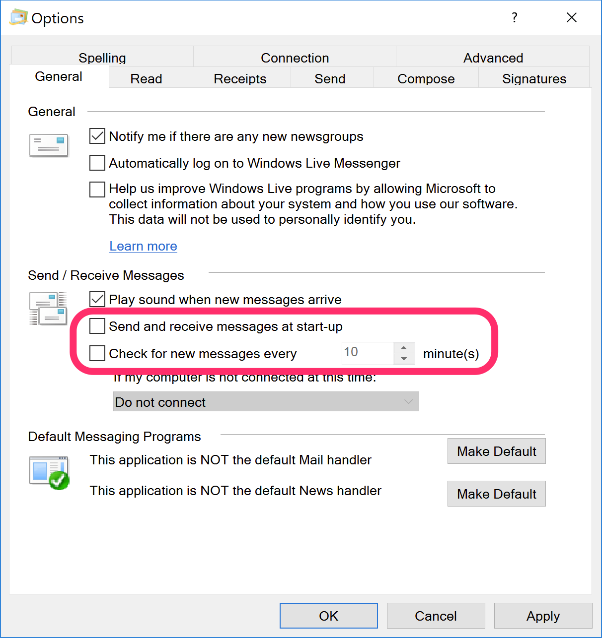nextcom windows mail live mail setup