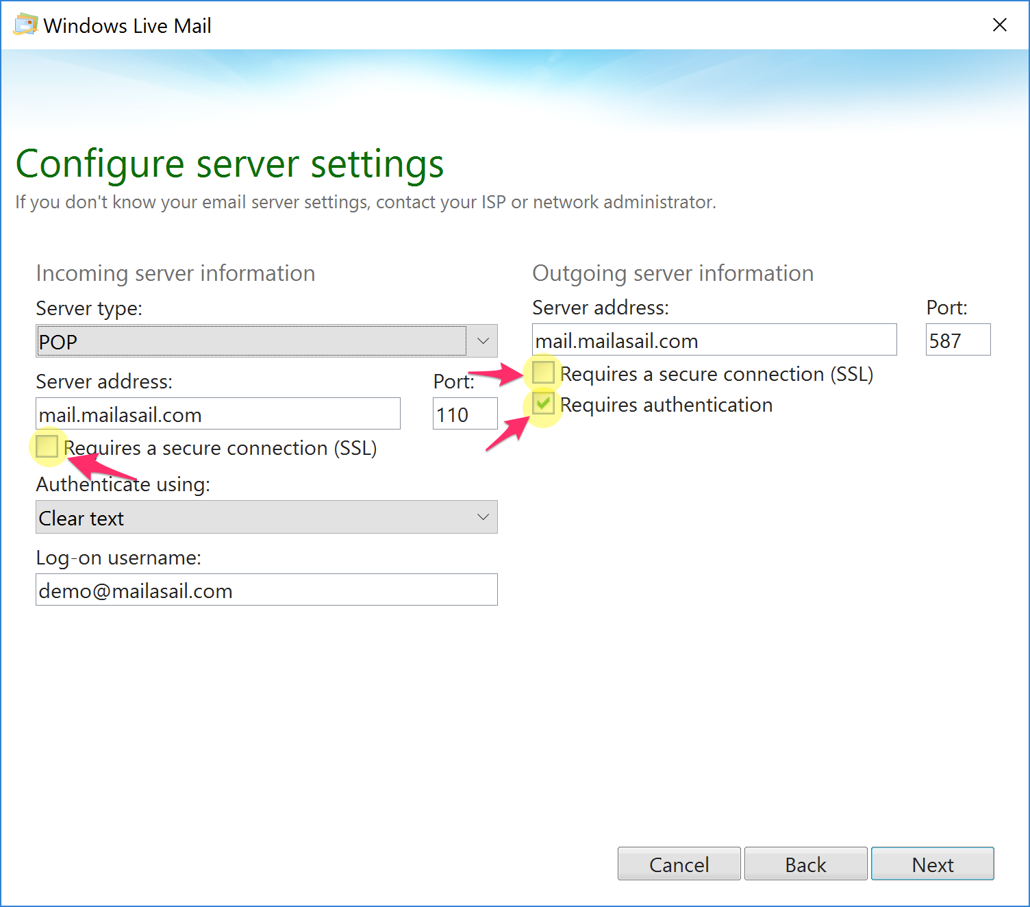 configuring windows live mail with teleport mail support